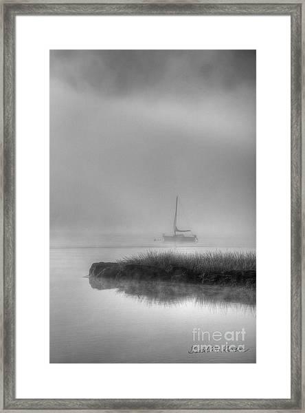 Boat And Morning Fog Framed Print