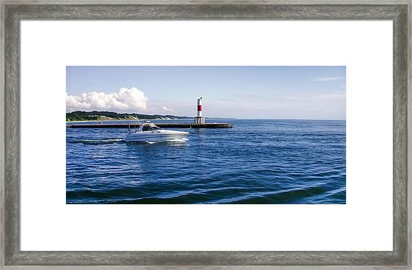 Boat At Holland Pier Framed Print