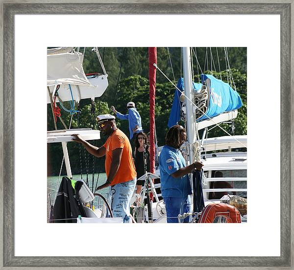 Framed Print featuring the photograph Boat Captain Vs Boat Captain by Debbie Cundy