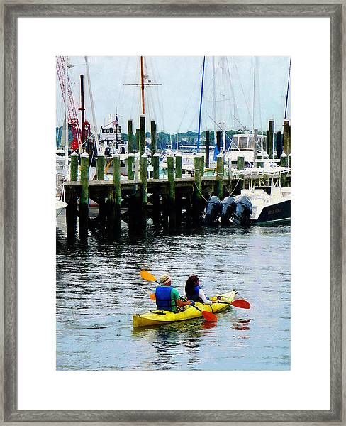 Boat - Kayaking In Newport Ri Framed Print