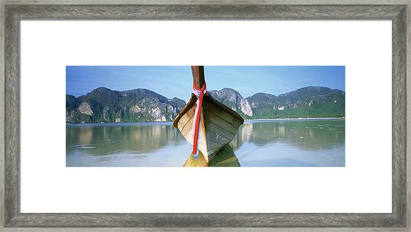 Boat Moored In The Water, Phi Phi Framed Print