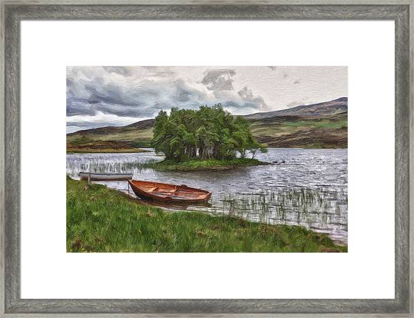 Boat On Lake Bank 1929 Framed Print