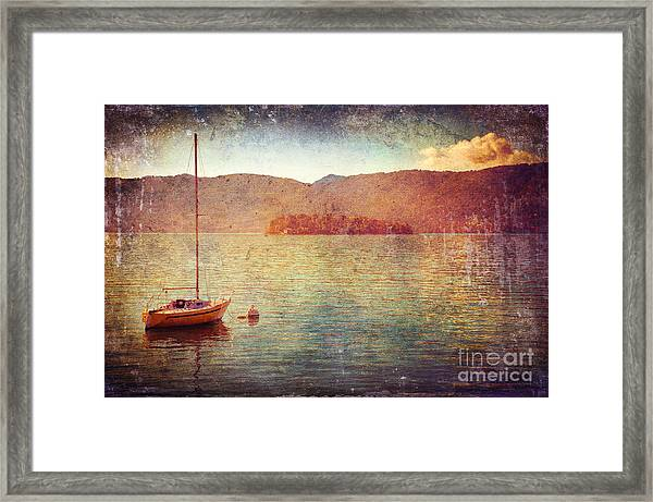 Boat On Lake Maggiore Framed Print