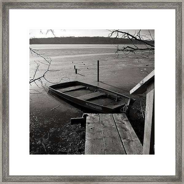 Boat In Ice - Lake Wingra - Madison - Wi Framed Print