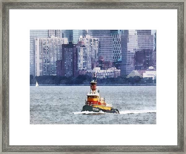 Boat - Tugboat By Manhattan Skyline Framed Print