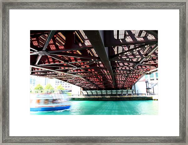 Boat Under Steel Bridge Framed Print