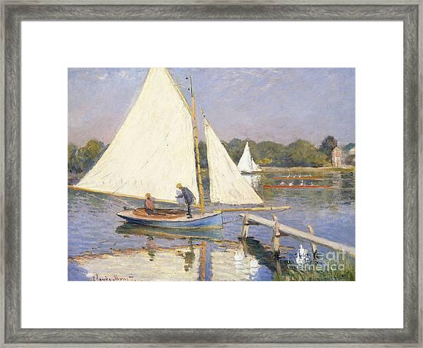 Boaters At Argenteuil Framed Print