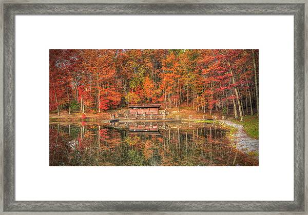 Boathouse At Boley Lake Framed Print