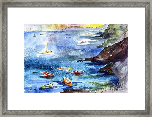 Boating In Italy Watercolor  Framed Print