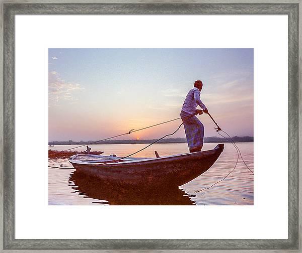 Boatman On The Ganges Framed Print