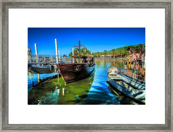 Boats At Kibbutz On Sea Galilee Framed Print