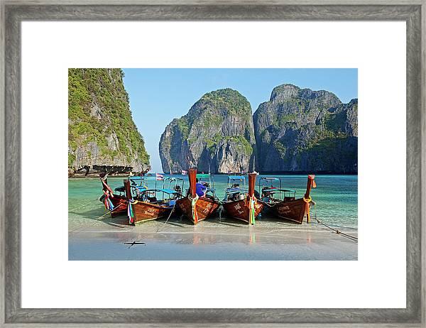 Boats At Maya Bay, Phi Phi Ley Framed Print by John W Banagan