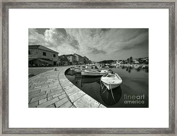 Boats At Stari Grad  Framed Print