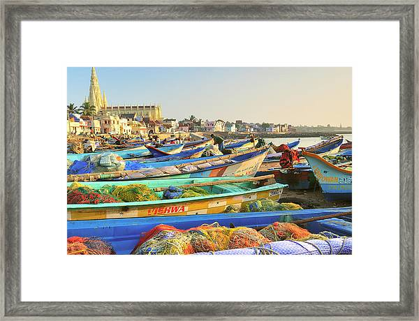 Boats Being Readied For Fishing Framed Print