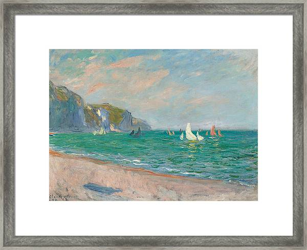 Boats Below The Pourville Cliffs Framed Print