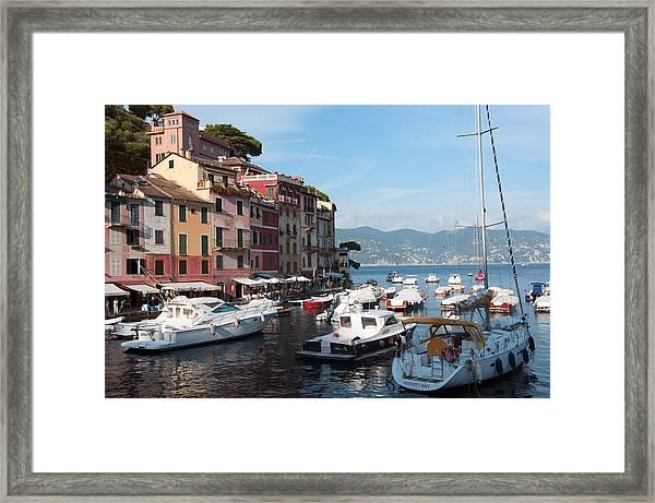 Boats In An Italian Harbor Framed Print
