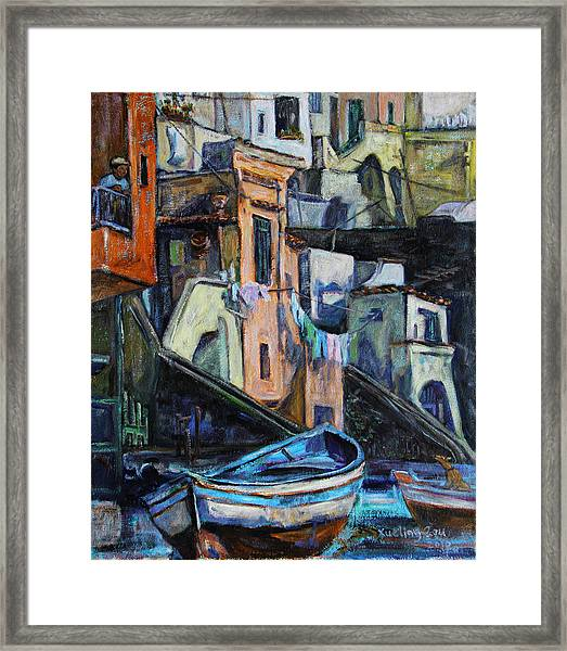 Boats In Front Of The Buildings I  Framed Print