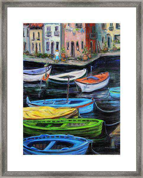 Boats In Front Of The Buildings II Framed Print