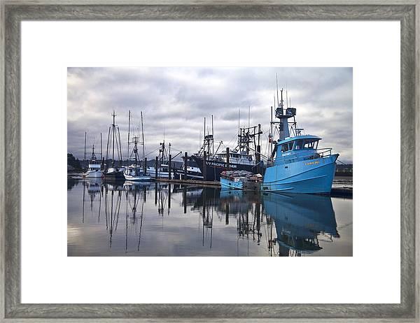Boats In Harbor Newport Oregon Framed Print