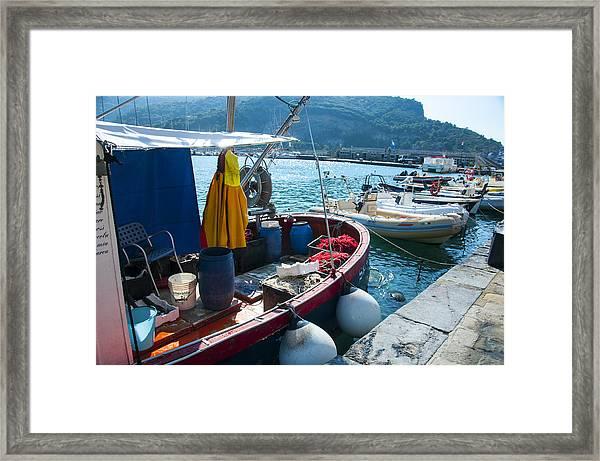 Boats In The Portovenere Harbor 2 Framed Print