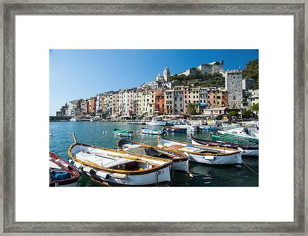 Boats In The Portovenere Harbor 3 Framed Print