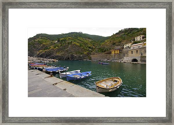 Boats In Vernazza Framed Print