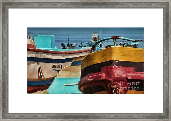 Boats On The Beach - Puerto Lopez - Ecuador Framed Print