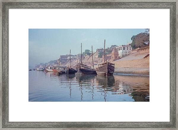 Boats On The Ganges River Framed Print