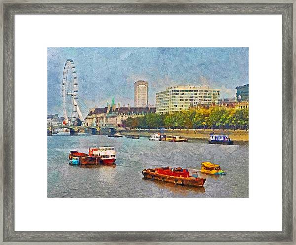 Boats On The River Thames And The London Eye Framed Print