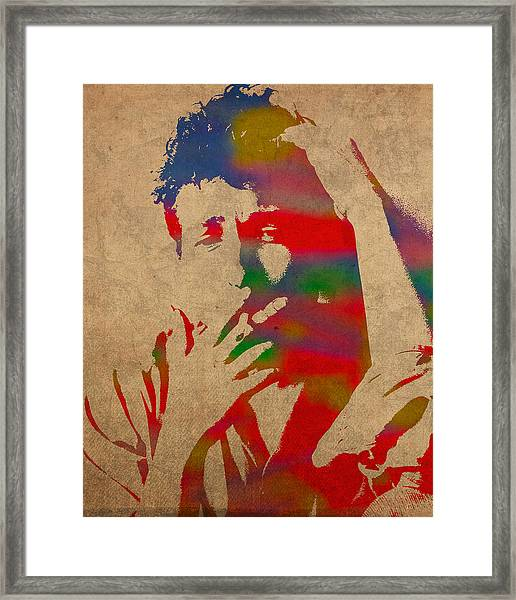 Bob Dylan Watercolor Portrait On Worn Distressed Canvas Framed Print