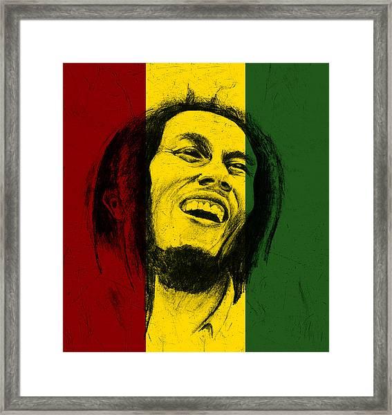 Bob Marley Reggae Tribute Framed Print by Allan Swart
