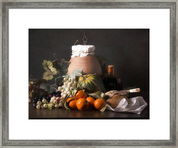 Bodegon With Grapes-watermelon And Big Jar Framed Print by Levin Rodriguez