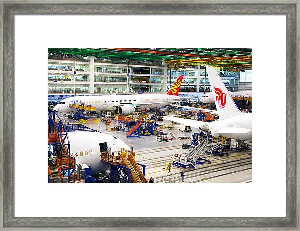 Boeing's Newest 787 Prepares To Take Off As Trump Roils Trade Framed Print by Bloomberg