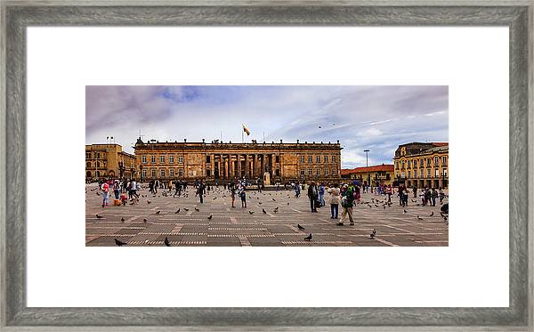 Bogota, Colombia: Parliament Building On Plaza Bolivar; Overcast Afternoon. Framed Print by Devasahayam Chandra Dhas