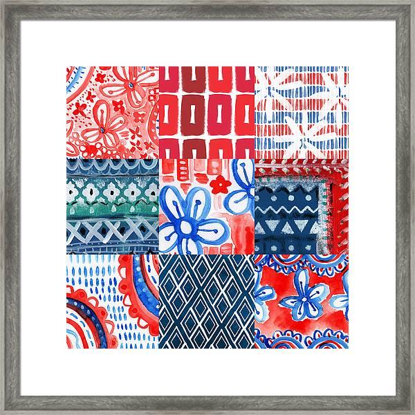 Boho Americana- Patchwork Painting Framed Print