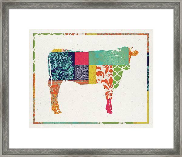 Boho Cow Framed Print