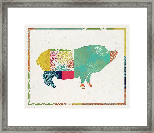 Boho Pig Framed Print