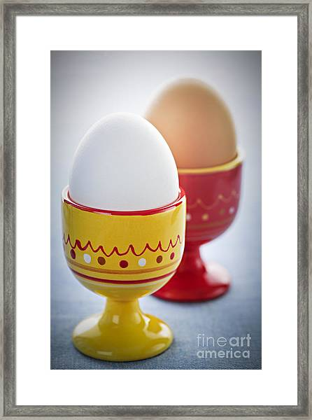Boiled Eggs In Cups Framed Print