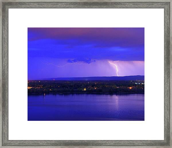 Bolt Over Gatineau Hills  Framed Print
