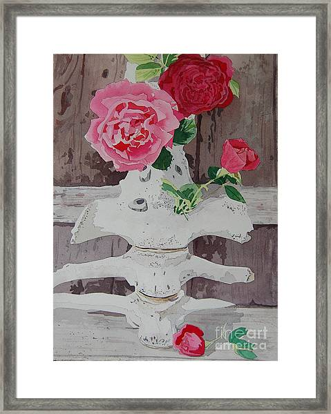 Bones And Roses Framed Print