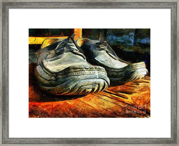 Boogie Shoes - Walking Story - Drawing Framed Print