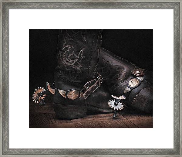 Boots And Spurs Framed Print by Krasimir Tolev