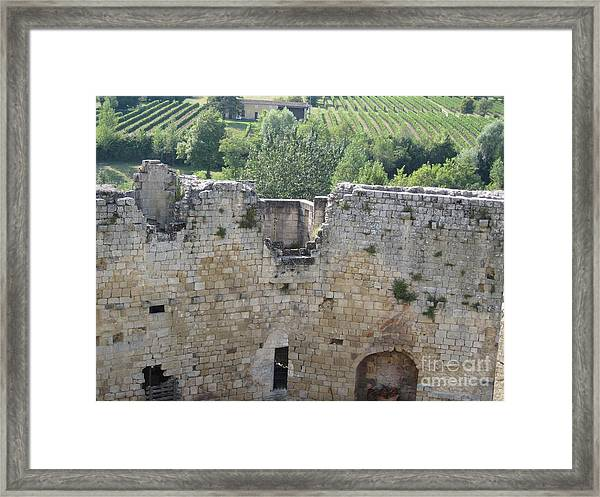 Bordeaux Castle Ruins With Vineyard Framed Print
