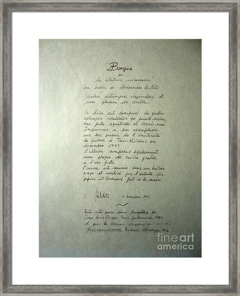 Borges Credits Framed Print