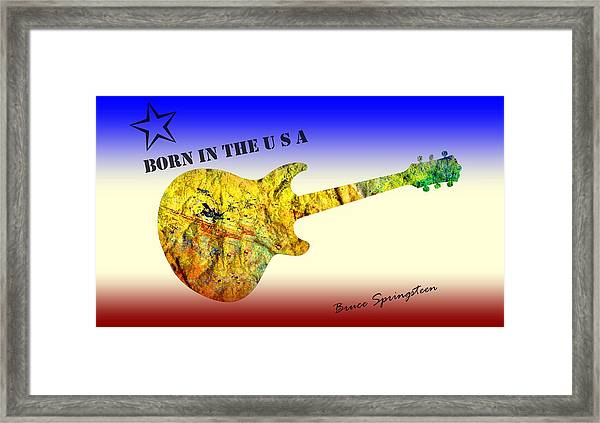 Framed Print featuring the painting Born In The U S A Bruce Springsteen by David Dehner