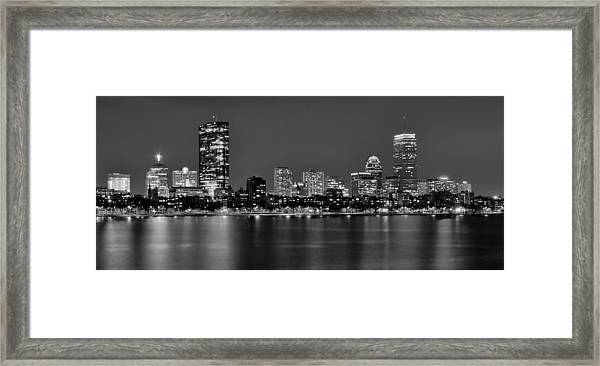 Boston Back Bay Skyline At Night Black And White Bw Panorama Framed Print