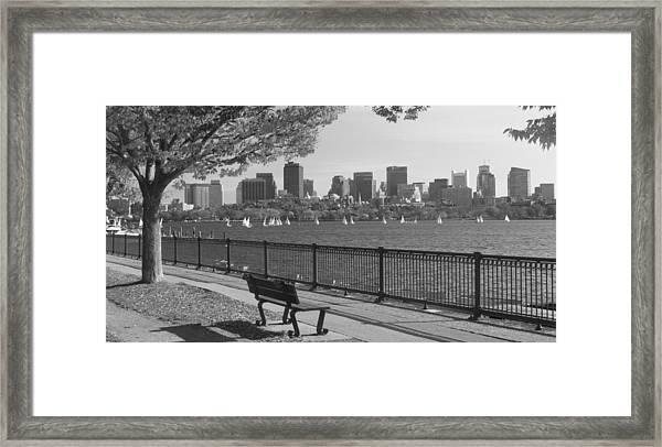 Boston Charles River Black And White  Framed Print