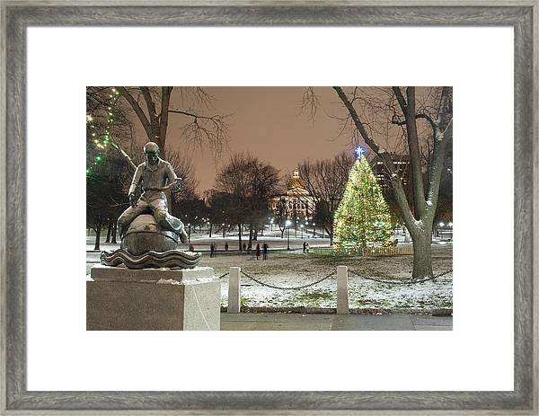Boston Common Christmas Lights Framed Print by Gretchen Lally