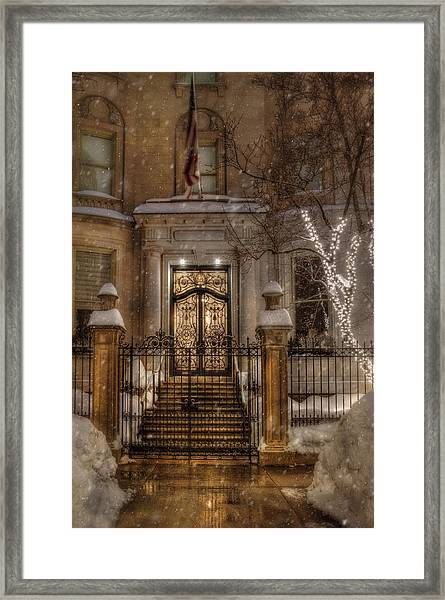 Boston Doorway In Snow - Back Bay Framed Print