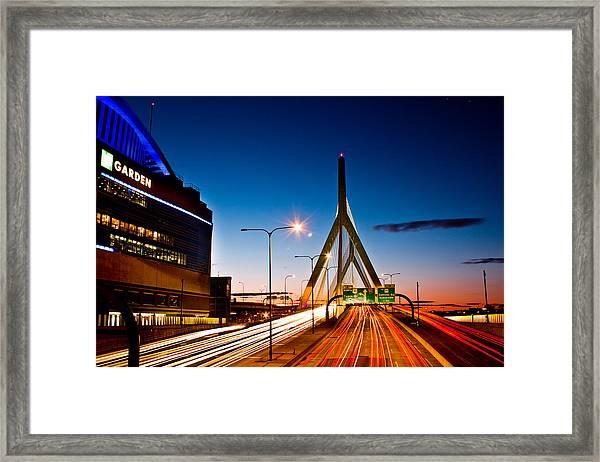 Boston Garden And Bunker Hill Bridge  Framed Print